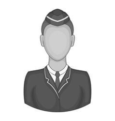 Woman train conductor icon black monochrome style vector image