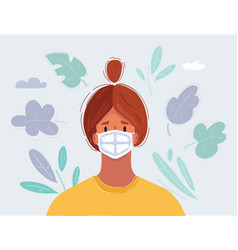 Womans face in medical mask vector