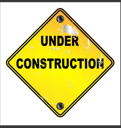 Yellow under construction sign vector