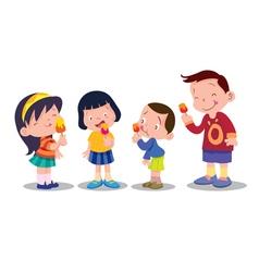 children eat ice cream vector image