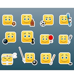 Sport smile stickers set vector image vector image