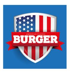 Burger vintage shield with USA flag vector image vector image