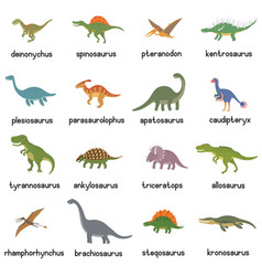 collection of cute flat dinosaurs vector image vector image