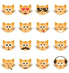 cute cat faces set vector image vector image