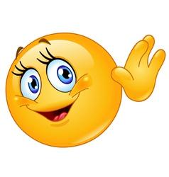 female emoticon waving hello vector image
