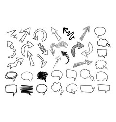 hand drawn speech and thought bubbles big set vector image