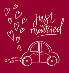 Hand sketched wedding symbol just married vector