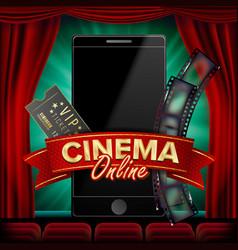 online cinema poster modern mobile smart vector image vector image