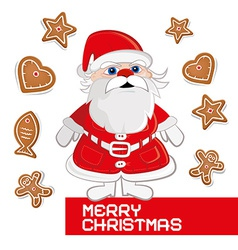 Retro Christmas Card with Santa Claus on White vector image