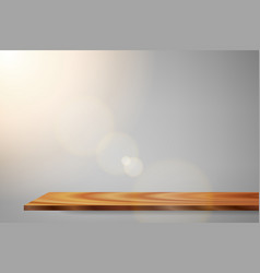 sunrise lens flare wood shelf vector image vector image