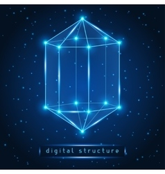 Abstract glowing geometric figure on starry vector image vector image