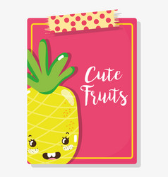 cute fruits cartoons vector image