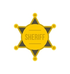 Gold star of sheriff icon flat style vector image vector image