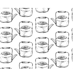 hand drawn graphic seamless pattern with teapots vector image
