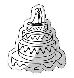 wedding cake couple outline vector image