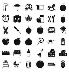 Children school icons set simple style vector