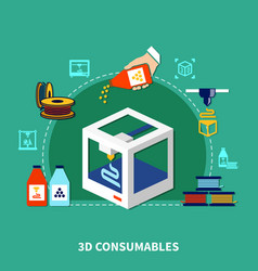 consumables for 3d printing design concept vector image