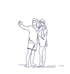 doodle couple taking selfie photo on smart phone vector image