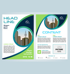 Flyer corporate business with green blue circle vector