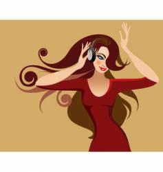 girl with headphone vector image