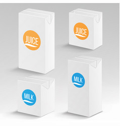 juice and milk package realistic mock up vector image