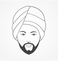 line art of an indian man vector image
