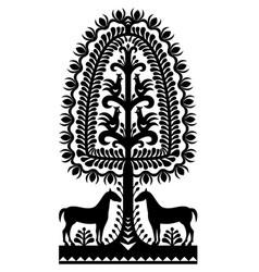 polish folk art pattern wycinanki kurpiowskie in b vector image vector image