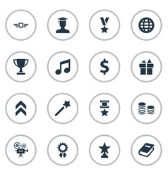 set of simple champ icons vector image vector image