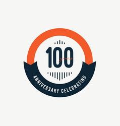 100 th anniversary celebrations retro orange vector