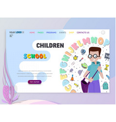 back to school home page template flat style vector image