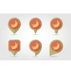 Banana mapping pins icons vector