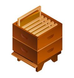 Bee hive honey frame icon isometric style vector