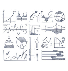 business charts and diagrams set in doodle style vector image