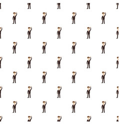 Businessman with hand up pattern vector