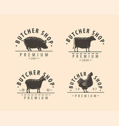 butcher shop logo or label farm natural meat vector image