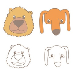 cartoon bear and dog vector image