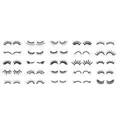 cartoon eye outline cute eyelashes contour vector image