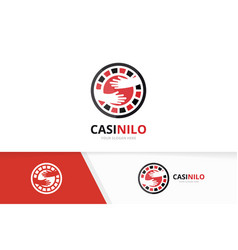 Casino and hands logo combination chip and vector