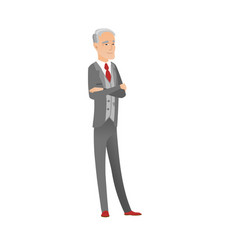 Caucasian confident businessman with folded arms vector
