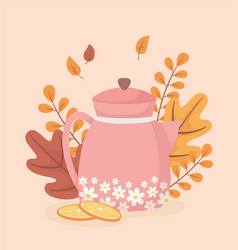 coffee time and tea tea pot woth flowers sliced vector image