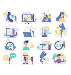 customer support flat icons vector image