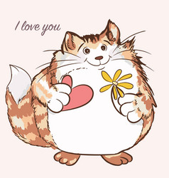 Cute cat holding heart and flower valentines day vector