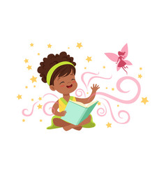 Cute little girl sitting on floor with magic book vector
