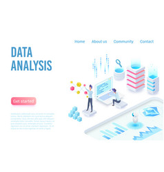 data analysis and visualization isometric landing vector image