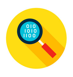 Data search flat circle icon vector