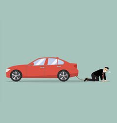Desperate businessman with car debt burden vector