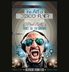 Disco night club flyer layout with dj shape and vector
