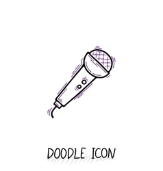 Doodle microphone icon speaker pictogram vector