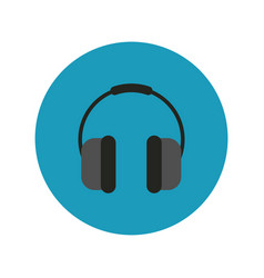 Earphones audio block and flat style icon vector
