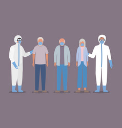 Elders men woman with masks and doctors with vector